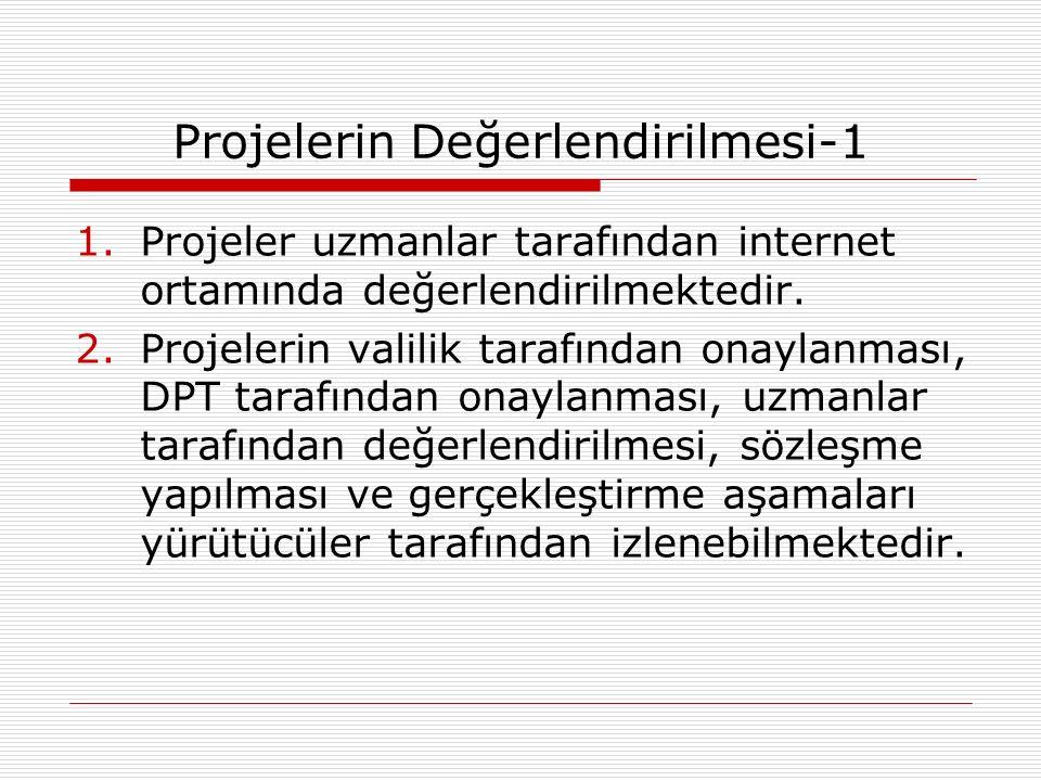 Projelerin Değerlendirilmesi-1 1.Projeler uzmanlar tarafından internet ortamında değerlendirilmektedir.
