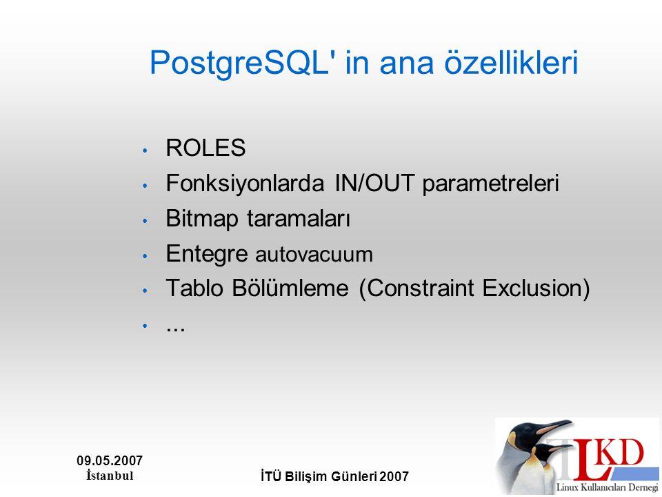 09.05.2007 İstanbul İTÜ Bilişim Günleri 2007 PostgreSQL' in ana özellikleri ROLES Fonksiyonlarda IN/OUT parametreleri Bitmap taramaları Entegre autova
