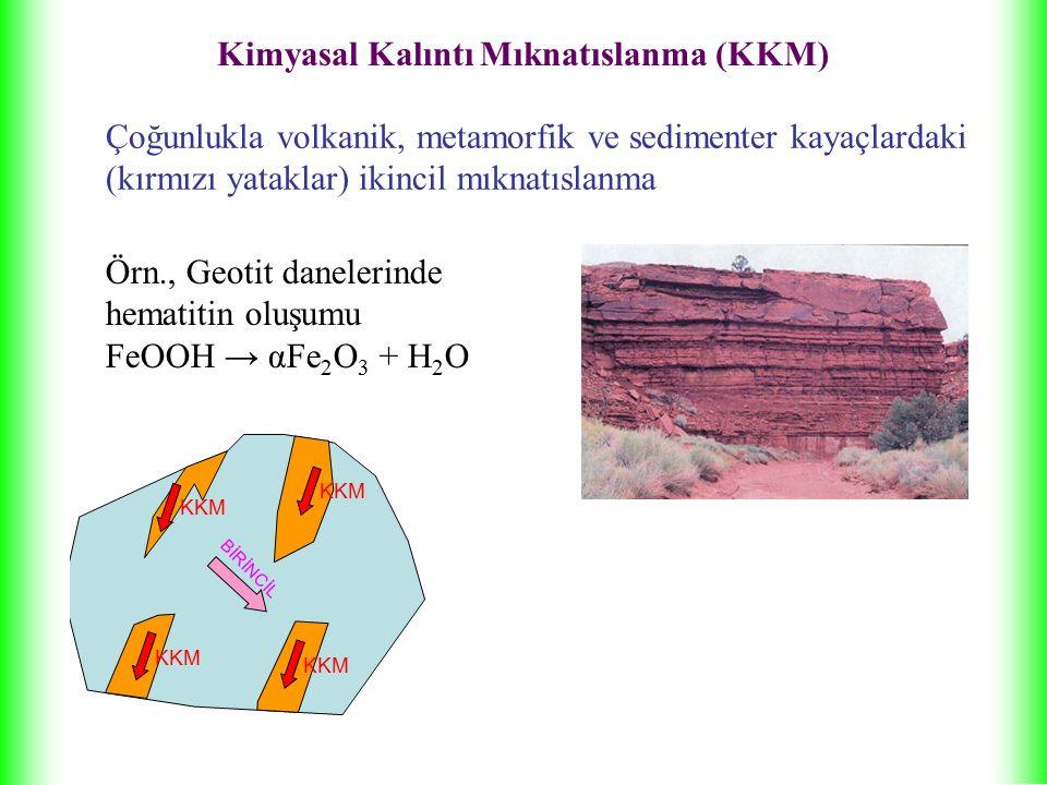 Çoğunlukla volkanik, metamorfik ve sedimenter kayaçlardaki (kırmızı yataklar) ikincil mıknatıslanma Örn., Geotit danelerinde hematitin oluşumu FeOOH → αFe 2 O 3 + H 2 O BİRİNCİL KKM Kimyasal Kalıntı Mıknatıslanma (KKM)