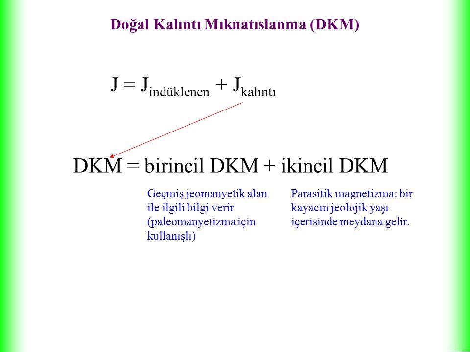 Doğal Kalıntı Mıknatıslanma (DKM) J = J indüklenen + J kalıntı DKM = birincil DKM + ikincil DKM Geçmiş jeomanyetik alan ile ilgili bilgi verir (paleomanyetizma için kullanışlı) Parasitik magnetizma: bir kayacın jeolojik yaşı içerisinde meydana gelir.