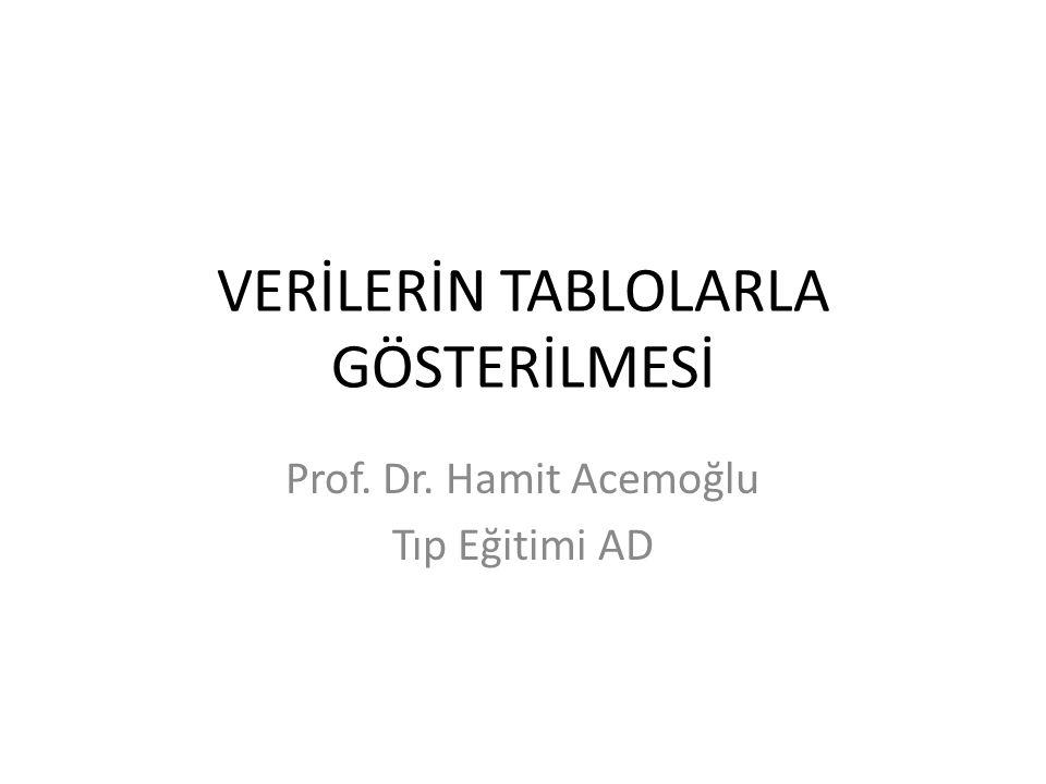 VERİLERİN TABLOLARLA GÖSTERİLMESİ Prof. Dr. Hamit Acemoğlu Tıp Eğitimi AD