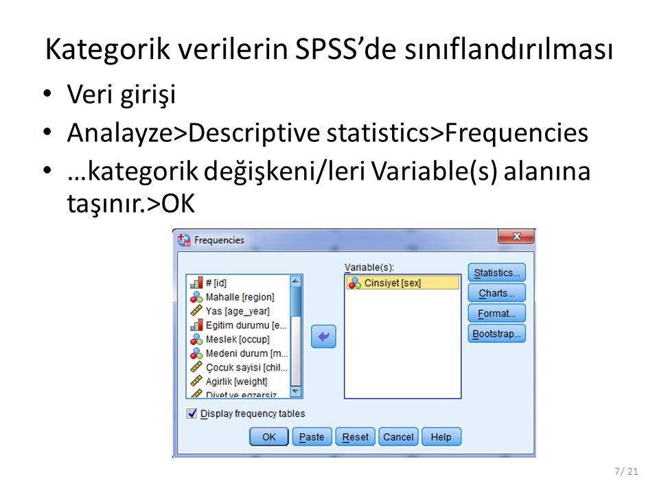 Kategorik verilerin SPSS'de sınıflandırılması Veri girişi Analayze>Descriptive statistics>Frequencies …kategorik değişkeni/leri Variable(s) alanına taşınır.>OK 7/ 21