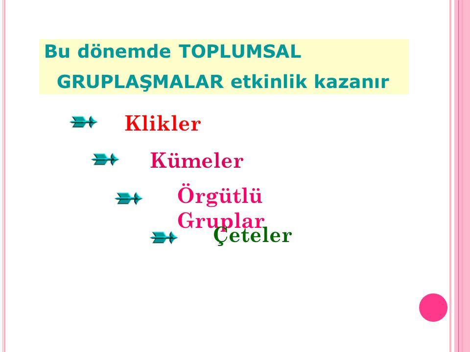 Klikler Bu dönemde TOPLUMSAL GRUPLAŞMALAR etkinlik kazanır Kümeler Örgütlü Gruplar Çeteler