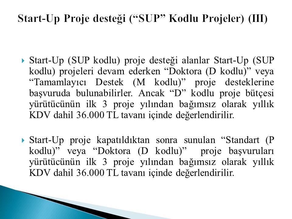  Start-Up (SUP kodlu) proje desteği alanlar Start-Up (SUP kodlu) projeleri devam ederken Doktora (D kodlu) veya Tamamlayıcı Destek (M kodlu) proje desteklerine başvuruda bulunabilirler.
