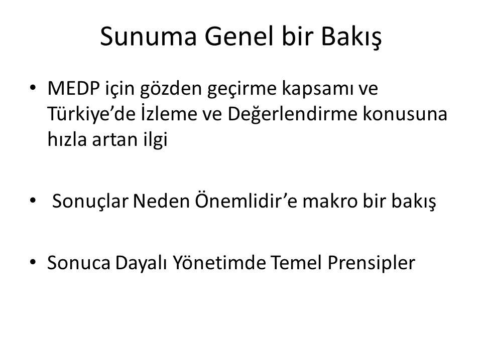 Sunuma Genel bir Bakış MEDP için gözden geçirme kapsamı ve Türkiye'de İzleme ve Değerlendirme konusuna hızla artan ilgi Sonuçlar Neden Önemlidir'e makro bir bakış Sonuca Dayalı Yönetimde Temel Prensipler