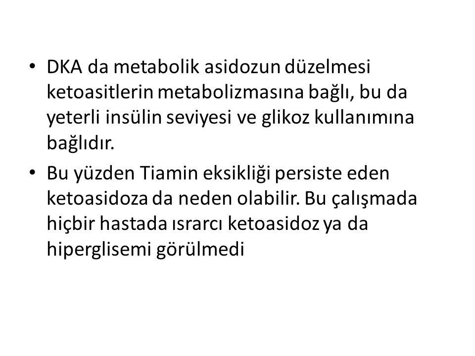 DKA da metabolik asidozun düzelmesi ketoasitlerin metabolizmasına bağlı, bu da yeterli insülin seviyesi ve glikoz kullanımına bağlıdır. Bu yüzden Tiam