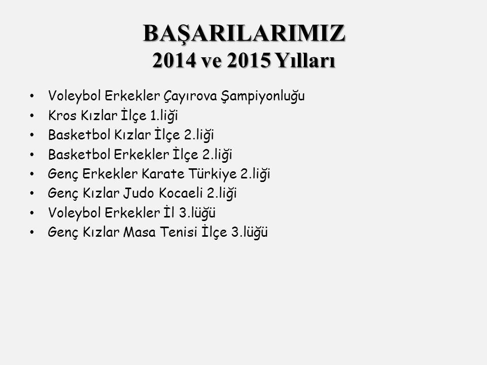 Voleybol Erkekler Çayırova Şampiyonluğu Kros Kızlar İlçe 1.liği Basketbol Kızlar İlçe 2.liği Basketbol Erkekler İlçe 2.liği Genç Erkekler Karate Türkiye 2.liği Genç Kızlar Judo Kocaeli 2.liği Voleybol Erkekler İl 3.lüğü Genç Kızlar Masa Tenisi İlçe 3.lüğü BAŞARILARIMIZ 2014 ve 2015 Yılları