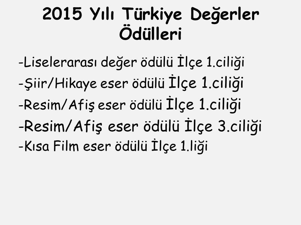 2015 Yılı Türkiye Değerler Ödülleri -Liselerarası değer ödülü İlçe 1.ciliği -Şiir/Hikaye eser ödülü İlçe 1.ciliği -Resim/Afiş eser ödülü İlçe 1.ciliği -Resim/Afiş eser ödülü İlçe 3.ciliği -Kısa Film eser ödülü İlçe 1.liği