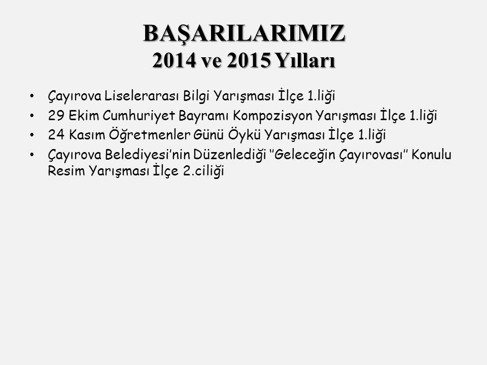 Çayırova Liselerarası Bilgi Yarışması İlçe 1.liği 29 Ekim Cumhuriyet Bayramı Kompozisyon Yarışması İlçe 1.liği 24 Kasım Öğretmenler Günü Öykü Yarışması İlçe 1.liği Çayırova Belediyesi'nin Düzenlediği ''Geleceğin Çayırovası'' Konulu Resim Yarışması İlçe 2.ciliği BAŞARILARIMIZ 2014 ve 2015 Yılları