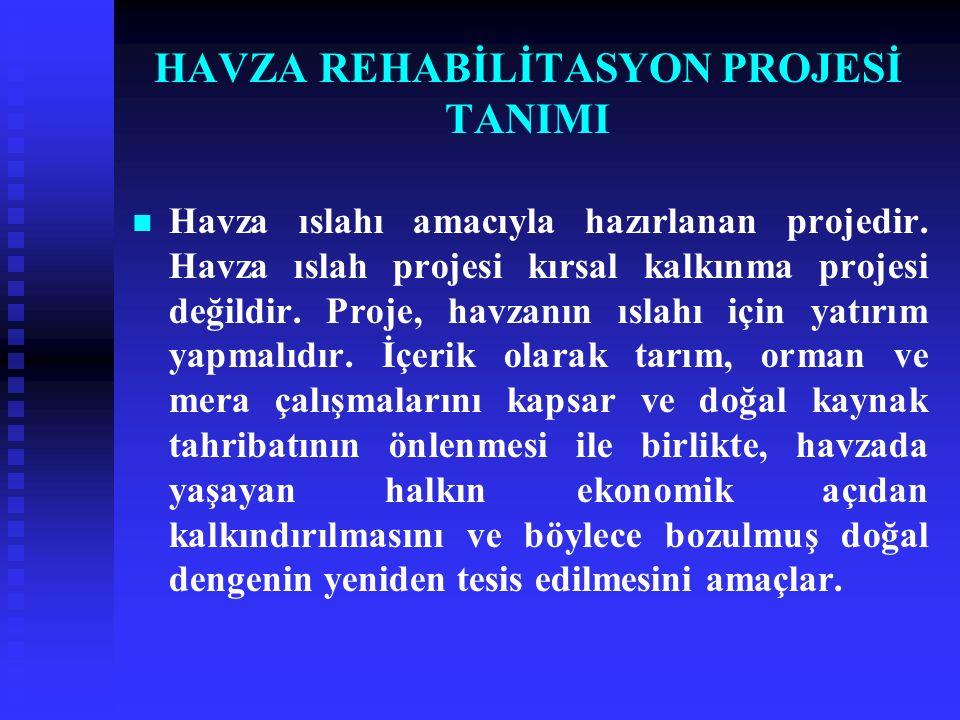 HAVZA REHABİLİTASYON PROJESİ TANIMI Havza ıslahı amacıyla hazırlanan projedir.