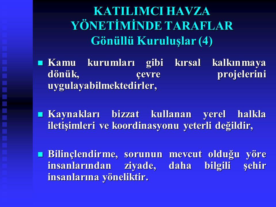 KATILIMCI HAVZA YÖNETİMİNDE TARAFLAR Gönüllü Kuruluşlar (4) Kamu kurumları gibi kırsal kalkınmaya dönük, çevre projelerini uygulayabilmektedirler, Kam