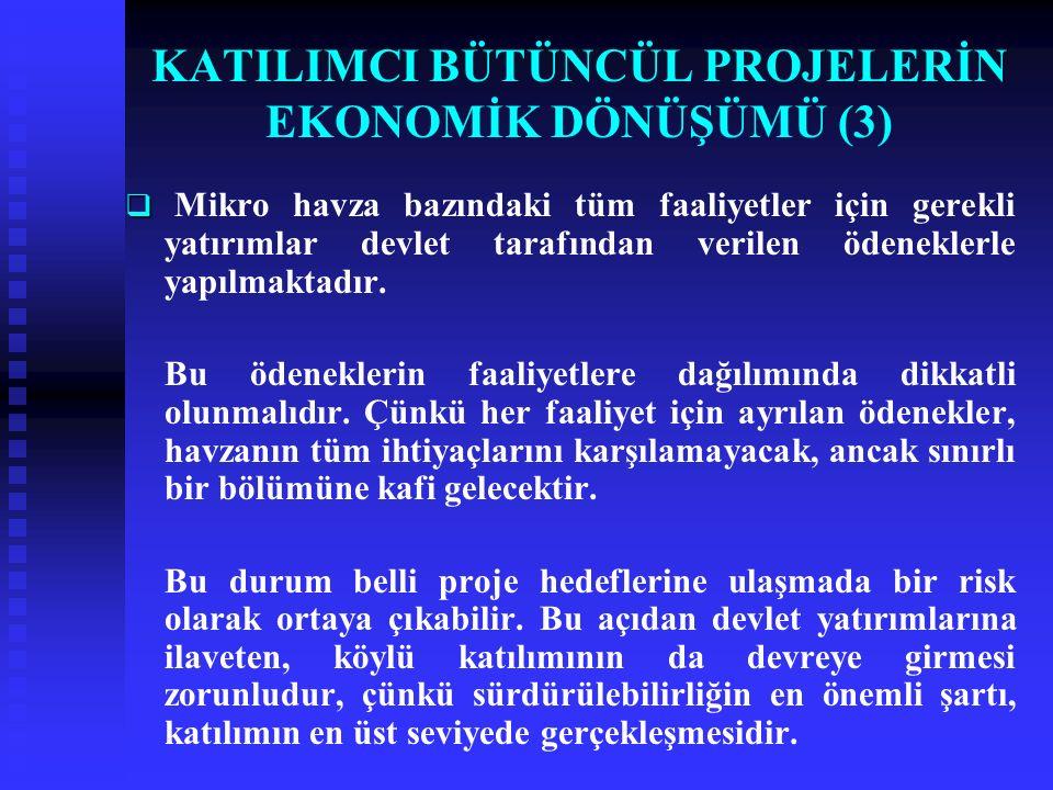 KATILIMCI BÜTÜNCÜL PROJELERİN EKONOMİK DÖNÜŞÜMÜ (3)   Mikro havza bazındaki tüm faaliyetler için gerekli yatırımlar devlet tarafından verilen ödeneklerle yapılmaktadır.