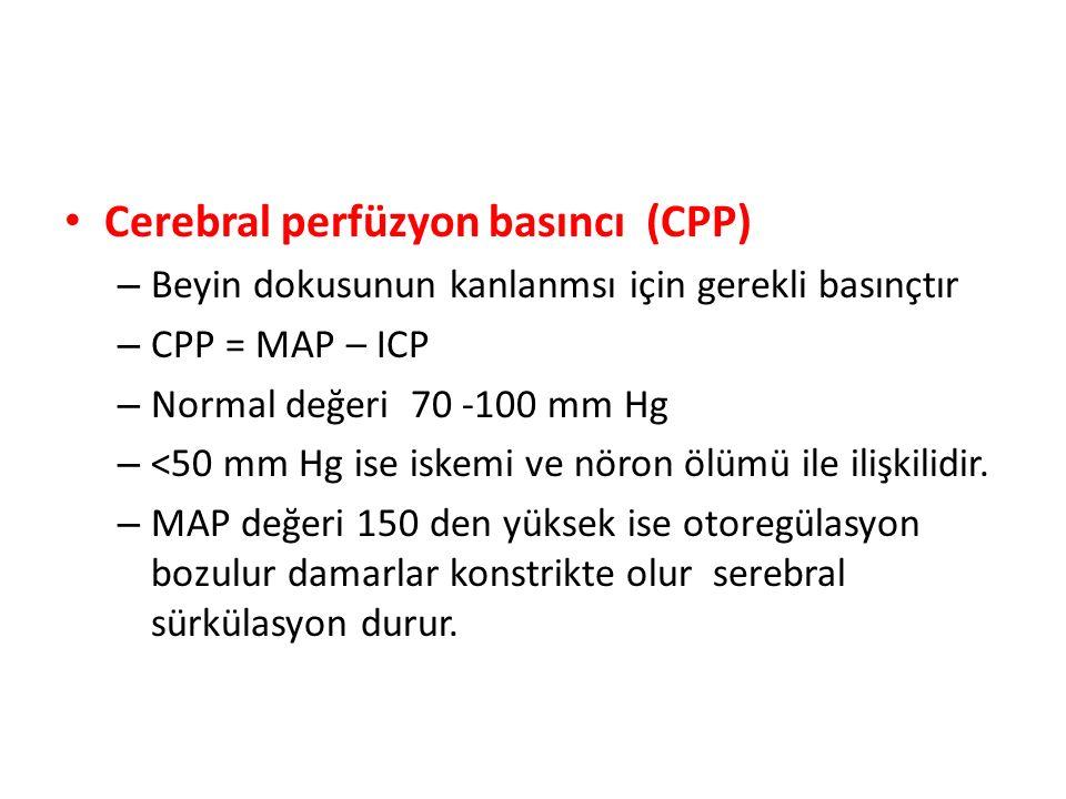 Cerebral perfüzyon basıncı (CPP) – Beyin dokusunun kanlanmsı için gerekli basınçtır – CPP = MAP – ICP – Normal değeri 70 -100 mm Hg – <50 mm Hg ise is
