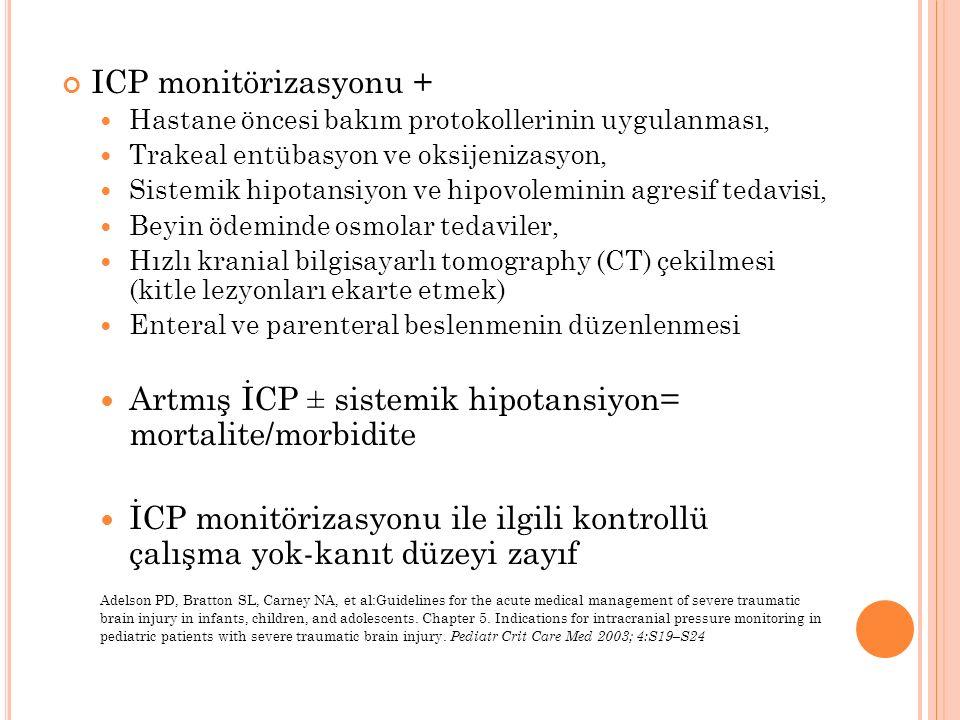 ICP monitörizasyonu + Hastane öncesi bakım protokollerinin uygulanması, Trakeal entübasyon ve oksijenizasyon, Sistemik hipotansiyon ve hipovoleminin a