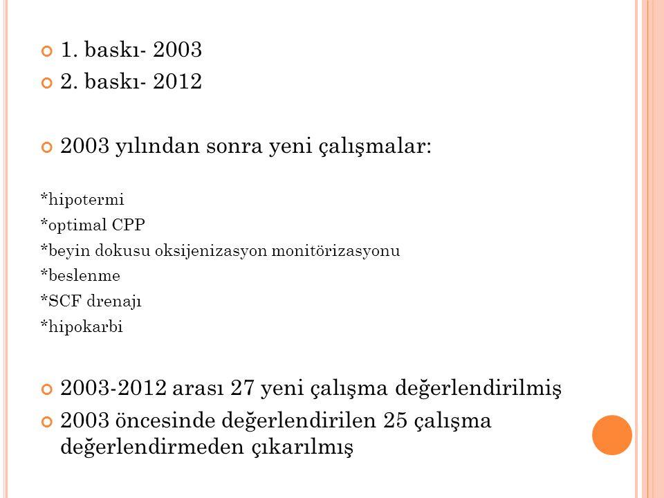 1. baskı- 2003 2. baskı- 2012 2003 yılından sonra yeni çalışmalar: *hipotermi *optimal CPP *beyin dokusu oksijenizasyon monitörizasyonu *beslenme *SCF