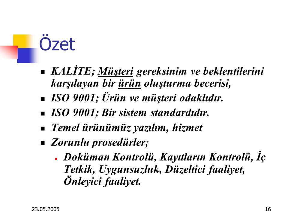 23.05.200516 Özet KALİTE; Müşteri gereksinim ve beklentilerini karşılayan bir ürün oluşturma becerisi, ISO 9001; Ürün ve müşteri odaklıdır.
