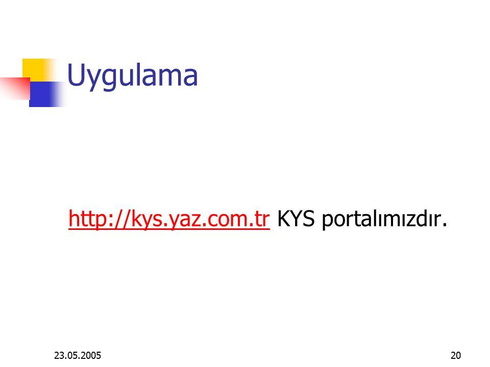 23.05.200520 Uygulama http://kys.yaz.com.trhttp://kys.yaz.com.tr KYS portalımızdır.