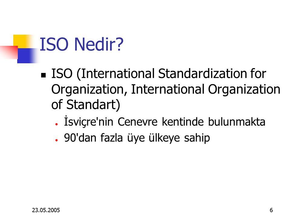 23.05.20056 ISO Nedir? ISO (International Standardization for Organization, International Organization of Standart) ● İsviçre'nin Cenevre kentinde bul