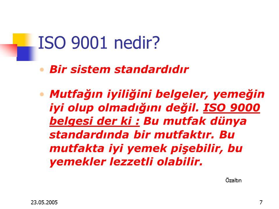 23.05.20057 ISO 9001 nedir? Bir sistem standardıdır Mutfağın iyiliğini belgeler, yemeğin iyi olup olmadığını değil. ISO 9000 belgesi der ki : Bu mutfa