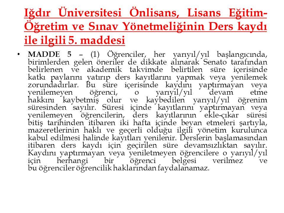 Iğdır Üniversitesi Önlisans, Lisans Eğitim- Öğretim ve Sınav Yönetmeliğinin Ders kaydı ile ilgili 5. maddesi MADDE 5 – (1) Öğrenciler, her yarıyıl/yıl