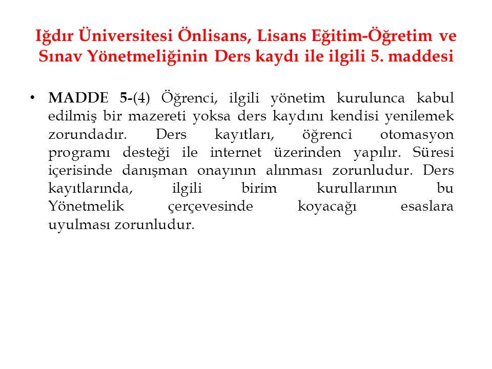 Iğdır Üniversitesi Önlisans, Lisans Eğitim-Öğretim ve Sınav Yönetmeliğinin Ders kaydı ile ilgili 5. maddesi MADDE 5- (4) Öğrenci, ilgili yönetim kurul