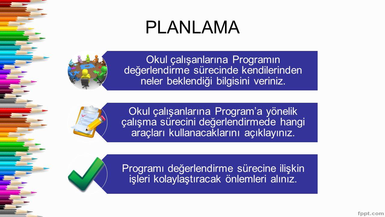 PLANLAMA Okul çalışanlarına Programın değerlendirme sürecinde kendilerinden neler beklendiği bilgisini veriniz. Okul çalışanlarına Program'a yönelik ç
