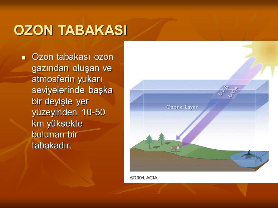 Ozon tabakası ozon gazından oluşan ve atmosferin yukarı seviyelerinde başka bir deyişle yer yüzeyinden 10-50 km yüksekte bulunan bir tabakadır.