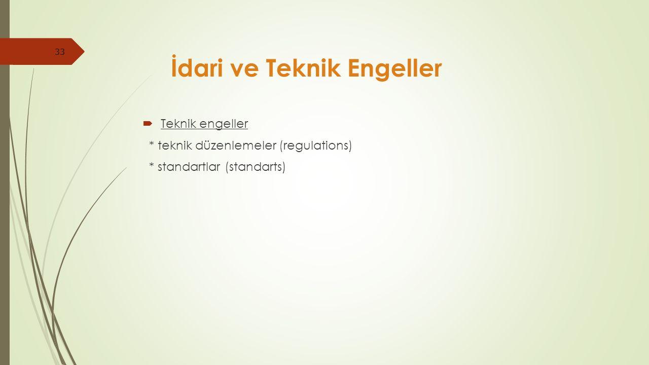 33  Teknik engeller * teknik düzenlemeler (regulations) * standartlar (standarts) İdari ve Teknik Engeller