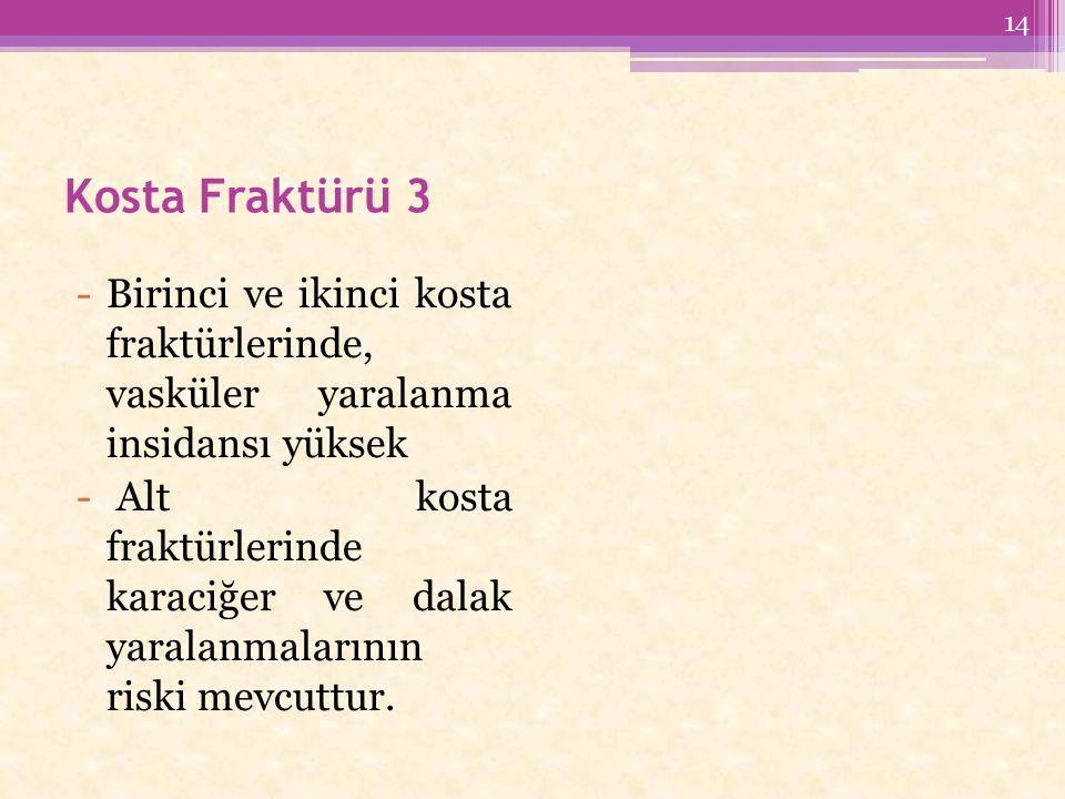 Kosta Fraktürü 3 -Birinci ve ikinci kosta fraktürlerinde, vasküler yaralanma insidansı yüksek - Alt kosta fraktürlerinde karaciğer ve dalak yaralanmalarının riski mevcuttur.