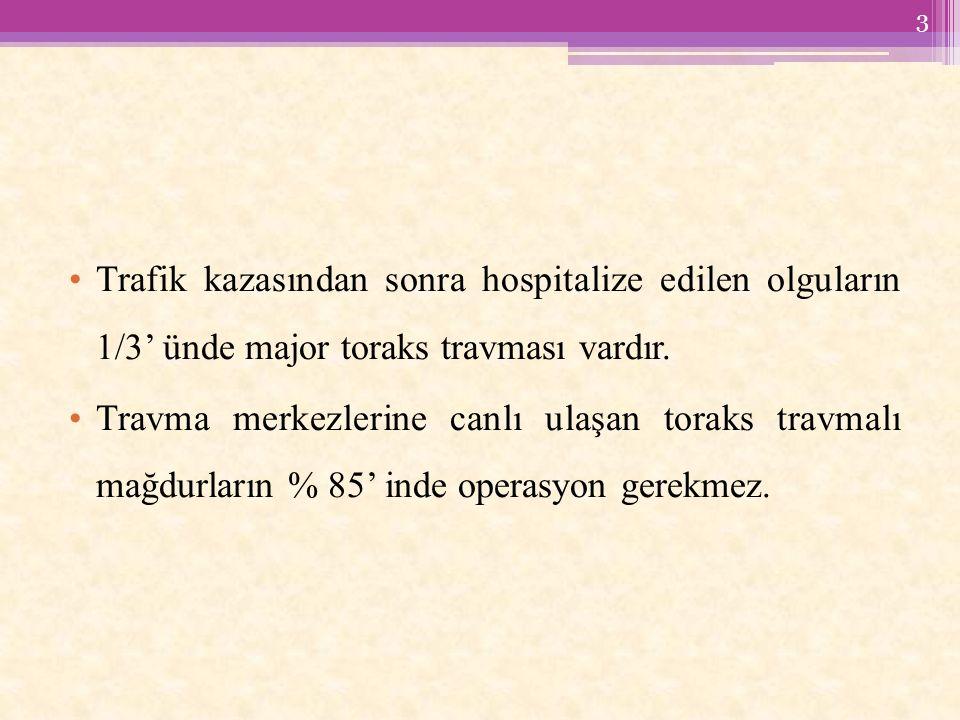 Trafik kazasından sonra hospitalize edilen olguların 1/3' ünde major toraks travması vardır.