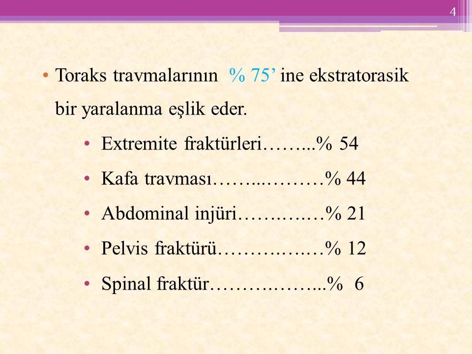 Toraks travmalarının % 75' ine ekstratorasik bir yaralanma eşlik eder.