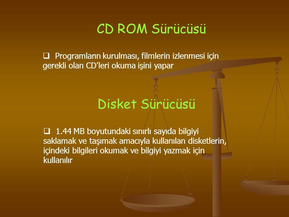 CD ROM Sürücüsü  Programların kurulması, filmlerin izlenmesi için gerekli olan CD'leri okuma işini yapar Disket Sürücüsü  1.44 MB boyutundaki sınırl