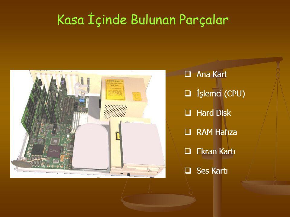 Kasa İçinde Bulunan Parçalar  Ana Kart  İşlemci (CPU)  Hard Disk  RAM Hafıza  Ekran Kartı  Ses Kartı