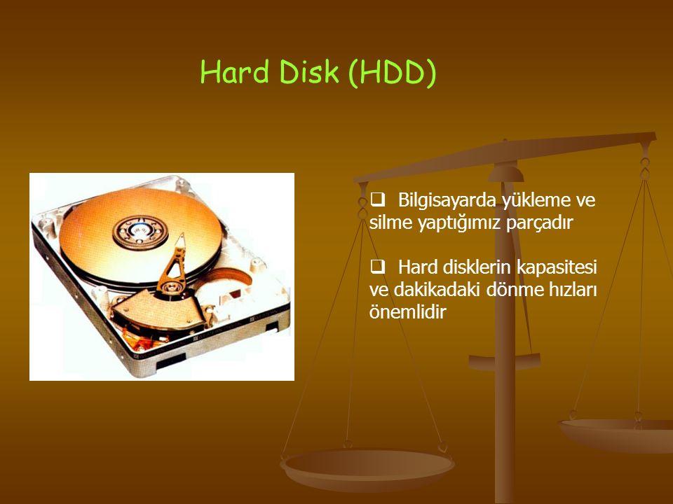 Hard Disk (HDD)  Bilgisayarda yükleme ve silme yaptığımız parçadır  Hard disklerin kapasitesi ve dakikadaki dönme hızları önemlidir