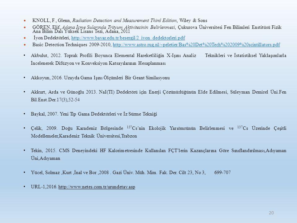 KNOLL, F., Glenn, Radiation Detection and Measurement Third Edition, Wiley & Sons GÖREN, Elif, Adana İçme Sularında Trityum Aktivitesinin Belirlenmesi, Çukurova Üniversitesi Fen Bilimleri Enstitüsü Fizik Ana Bilim Dalı Yüksek Lisans Tezi, Adana, 2011 İyon Dedektörleri, http://www.bayar.edu.tr/besergil/2_iyon_dedektorleri.pdfhttp://www.bayar.edu.tr/besergil/2_iyon_dedektorleri.pdf Basic Detection Techniques 2009-2010, http://www.astro.rug.nl/~peletier/Bas%20Det%20Tech%202009%20scintillators.pdfhttp://www.astro.rug.nl/~peletier/Bas%20Det%20Tech%202009%20scintillators.pdf Akbulut, 2012.