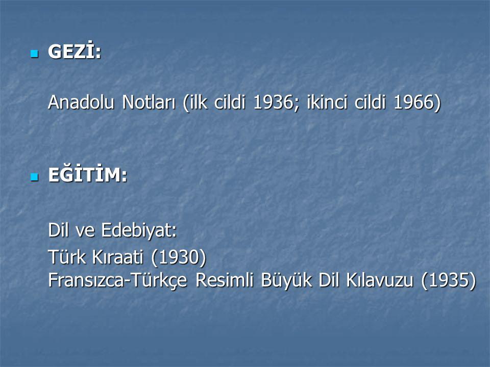 GEZİ: Anadolu Notları (ilk cildi 1936; ikinci cildi 1966) EĞİTİM: Dil ve Edebiyat: Türk Kıraati (1930) Fransızca-Türkçe Resimli Büyük Dil Kılavuzu (1935)