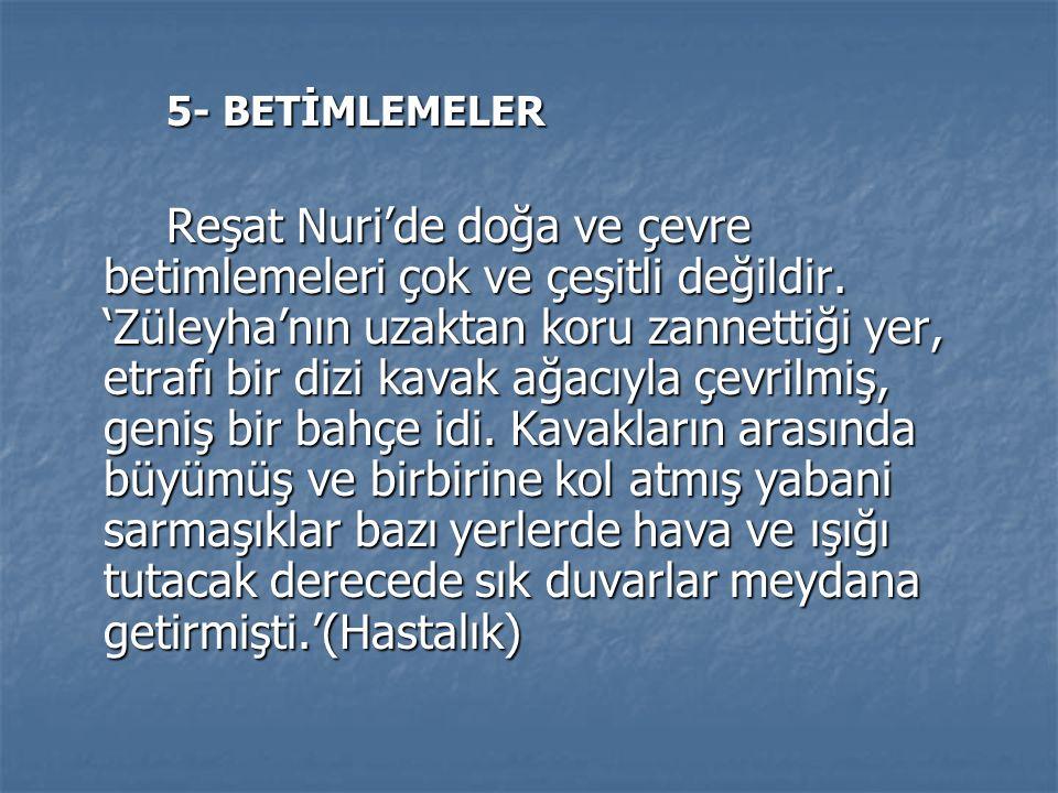 5- BETİMLEMELER 5- BETİMLEMELER Reşat Nuri'de doğa ve çevre betimlemeleri çok ve çeşitli değildir.