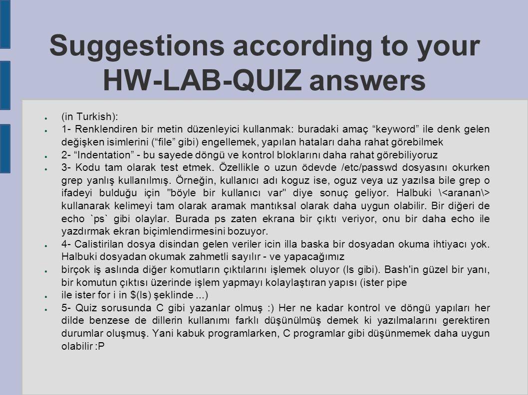 """Suggestions according to your HW-LAB-QUIZ answers ● (in Turkish): ● 1- Renklendiren bir metin düzenleyici kullanmak: buradaki amaç """"keyword"""" ile denk"""