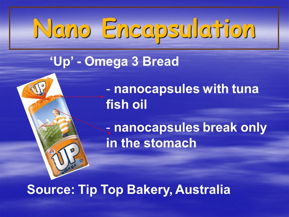 Nano Encapsulation - nanocapsules with tuna fish oil - nanocapsules break only in the stomach Source: Tip Top Bakery, Australia 'Up' - Omega 3 Bread