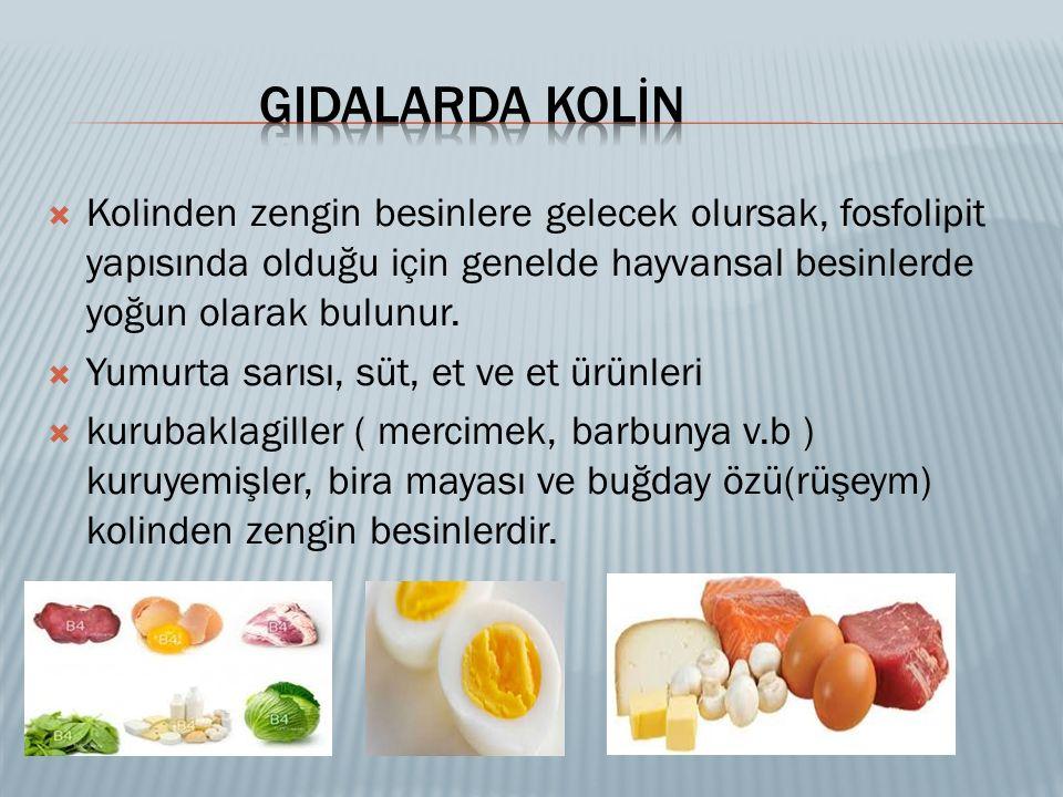  Kolinden zengin besinlere gelecek olursak, fosfolipit yapısında olduğu için genelde hayvansal besinlerde yoğun olarak bulunur.