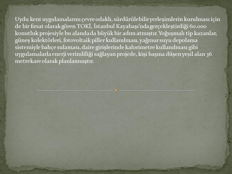Uydu kent uygulamalarını çevre odaklı, sürdürülebilir yerleşimlerin kurulması için de bir fırsat olarak gören TOKİ, İstanbul Kayabaşı'nda gerçekleştirdiği 60.000 konutluk projesiyle bu alanda da büyük bir adım atmıştır.