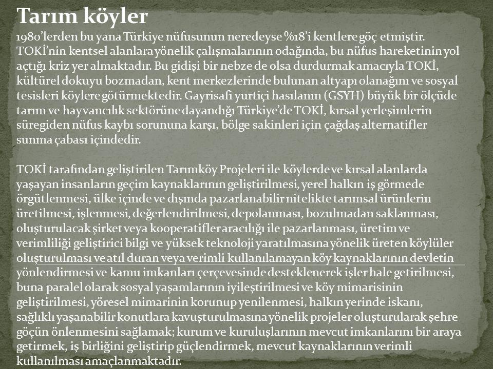Tarım köyler 1980'lerden bu yana Türkiye nüfusunun neredeyse %18'i kentlere göç etmiştir. TOKİ'nin kentsel alanlara yönelik çalışmalarının odağında, b