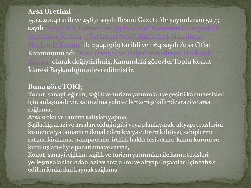 """Arsa Üretimi 15.12.2004 tarih ve 25671 sayılı Resmi Gazete 'de yayımlanan 5273 sayılı """"Arsa Ofisi Kanunu ve Toplu Konut Kanununda Değişiklik Yapılması"""