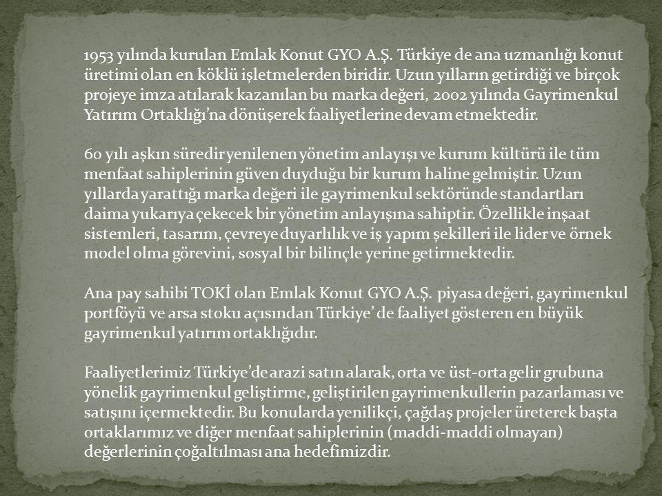 1953 yılında kurulan Emlak Konut GYO A.Ş. Türkiye de ana uzmanlığı konut üretimi olan en köklü işletmelerden biridir. Uzun yılların getirdiği ve birço