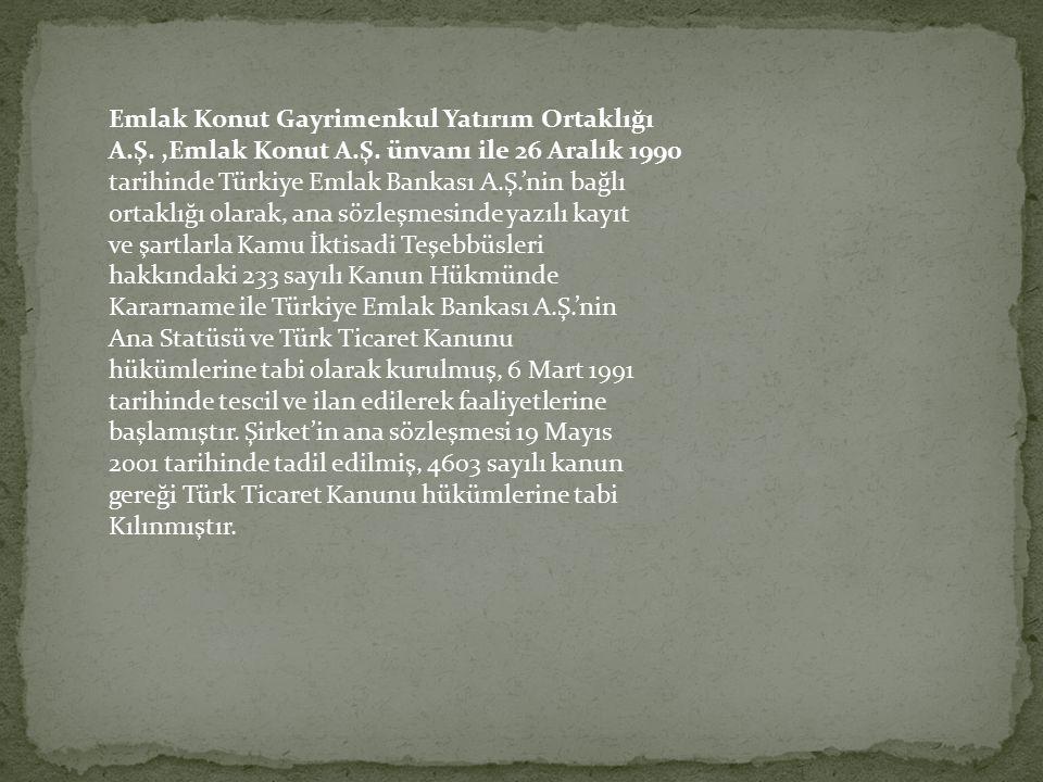 Emlak Konut Gayrimenkul Yatırım Ortaklığı A.Ş.,Emlak Konut A.Ş. ünvanı ile 26 Aralık 1990 tarihinde Türkiye Emlak Bankası A.Ş.'nin bağlı ortaklığı ola