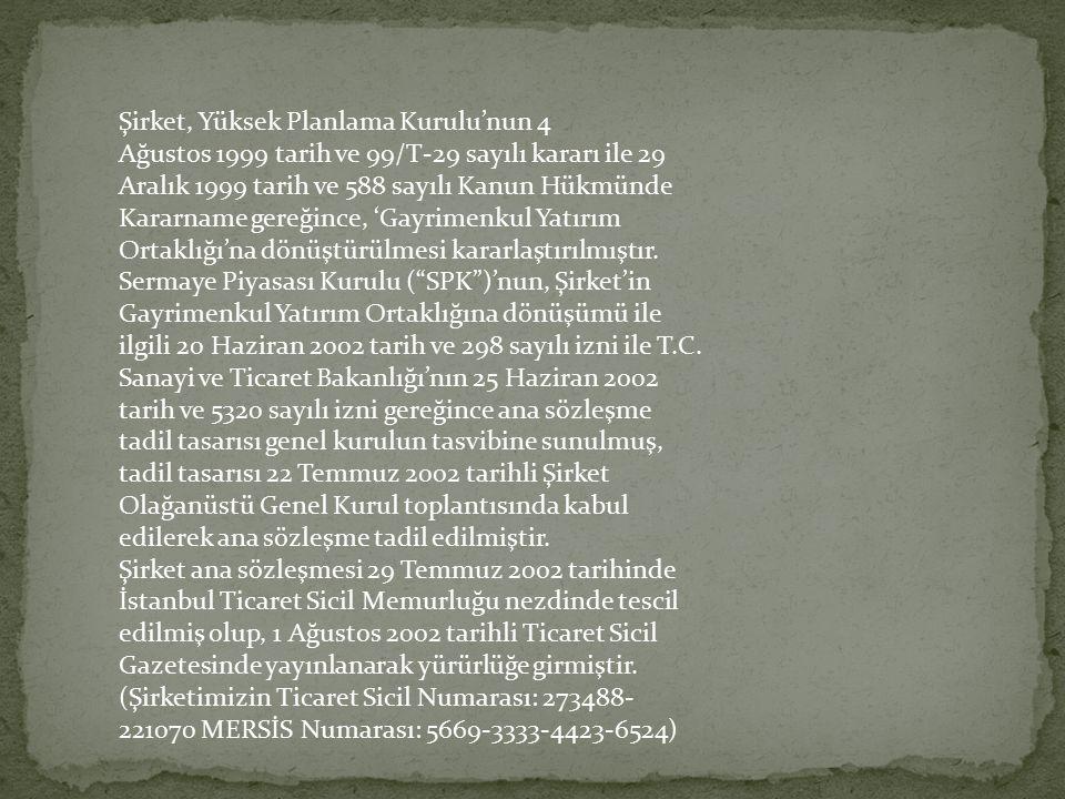Şirket, Yüksek Planlama Kurulu'nun 4 Ağustos 1999 tarih ve 99/T-29 sayılı kararı ile 29 Aralık 1999 tarih ve 588 sayılı Kanun Hükmünde Kararname gereğ