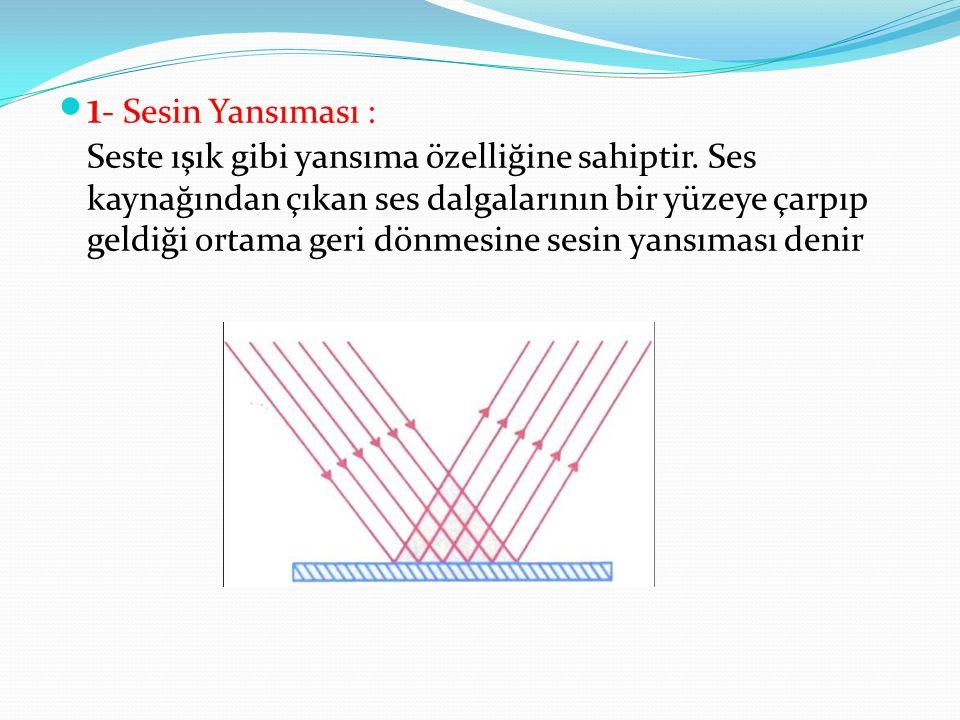 1 - Sesin Yansıması : Seste ışık gibi yansıma özelliğine sahiptir. Ses kaynağından çıkan ses dalgalarının bir yüzeye çarpıp geldiği ortama geri dönmes