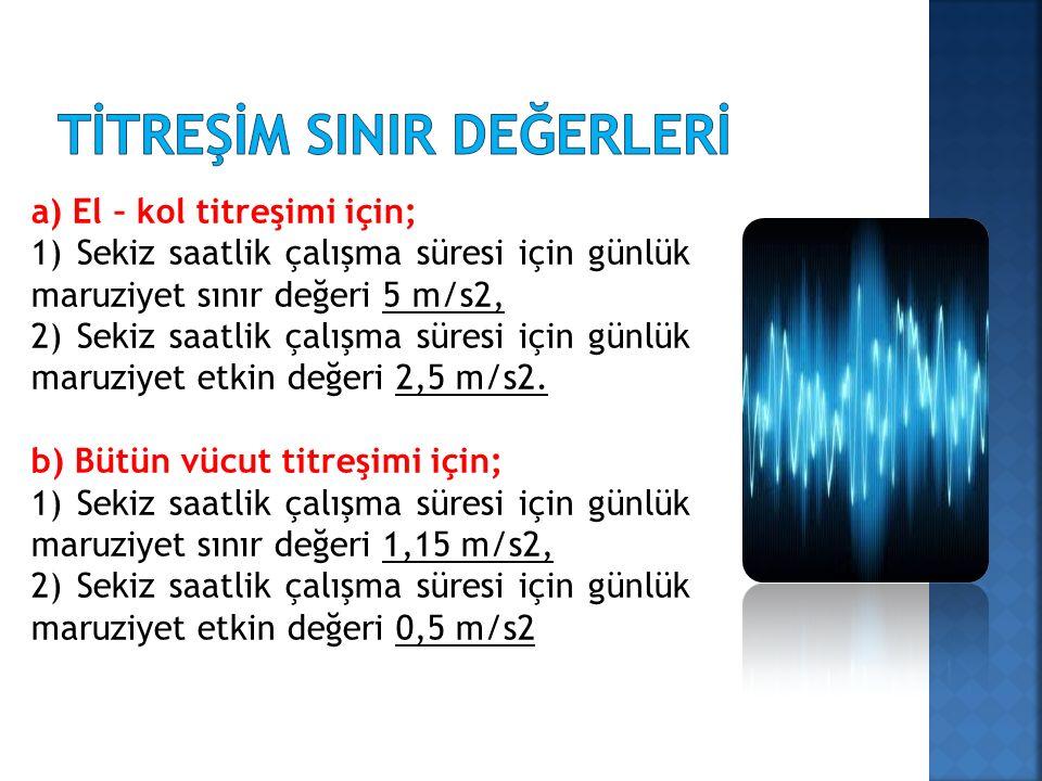 a) El – kol titreşimi için; 1) Sekiz saatlik çalışma süresi için günlük maruziyet sınır değeri 5 m/s2, 2) Sekiz saatlik çalışma süresi için günlük maruziyet etkin değeri 2,5 m/s2.