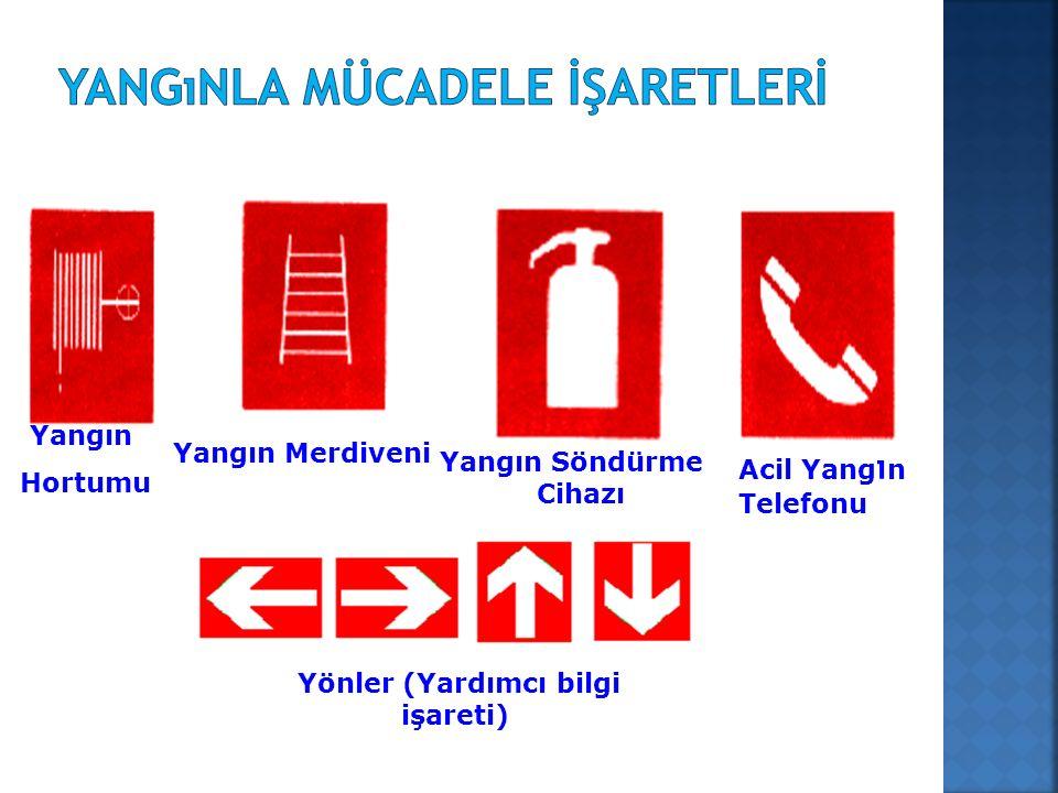 Yönler (Yardımcı bilgi işareti) Yangın Hortumu Yangın Merdiveni Yangın Söndürme Cihazı Acil Yang ı n Telefonu