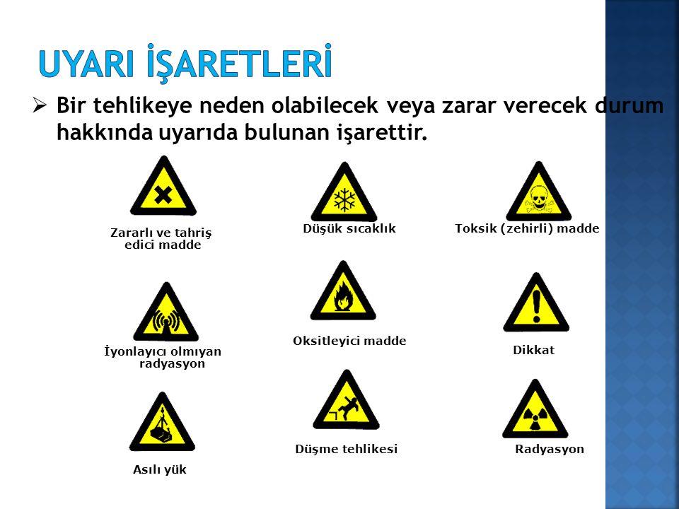 Zararlı ve tahriş edici madde Düşük sıcaklık İyonlayıcı olmıyan radyasyon Dikkat Düşme tehlikesiRadyasyon Oksitleyici madde Asılı yük Toksik (zehirli) madde  Bir tehlikeye neden olabilecek veya zarar verecek durum hakkında uyarıda bulunan işarettir.